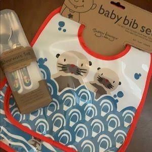 Sugarbooger, baby bib and silverware set, NWT